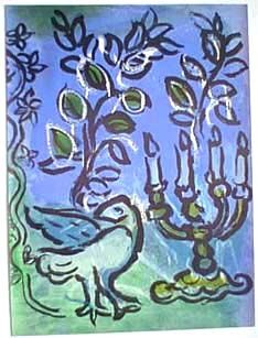 Lithograph Chagall - Le chandelier