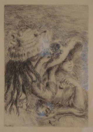Etching Renoir - Le Chapeau Épinglé. La Fille de Berthe Morisot et sa Cousine.