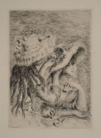 Etching Renoir - Le Chapeau Épinglé. La Fille de Berthe Morisot et sa Cousine