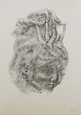 Lithograph Bellmer - LE CHAPEAU MAIN