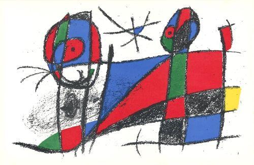 Lithograph Miró - Le chat heureux / The Happy Cat