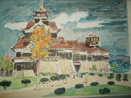 Lithograph Brayer - Le chateau de Kumamoto