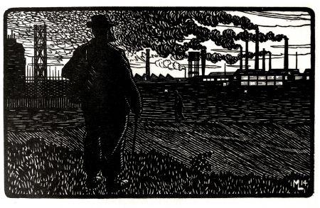 Etching Moreau - Le Cheminot / The Railroader - Gravure S/bois / Woodcut - 1912