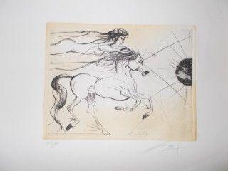 Lithograph Guiny - Le cheval et la femme