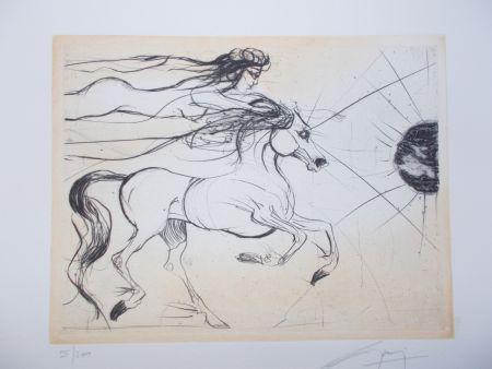 Etching Guiny - Le cheval et la femme