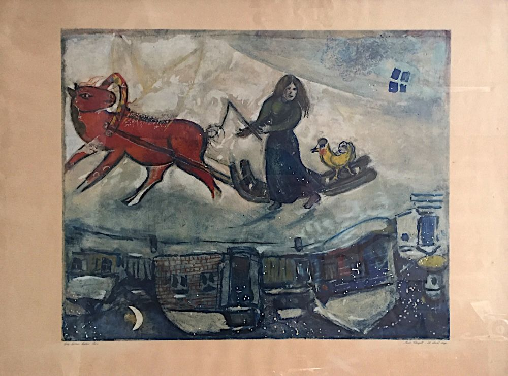 Lithograph Chagall - Le cheval rouge