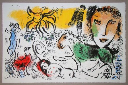 Lithograph Chagall - Le cheval vert