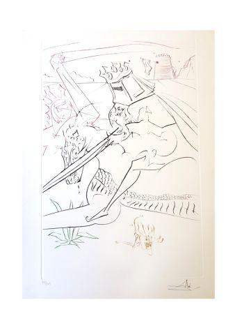 Lithograph Dali - Le Chevalier Noir