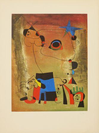 Aquatint Miró (After) - Le chien bleu