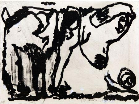 Aquatint Pincemin - Le chien et l'escargot. Épreuve rehaussée à la gouache (1990)