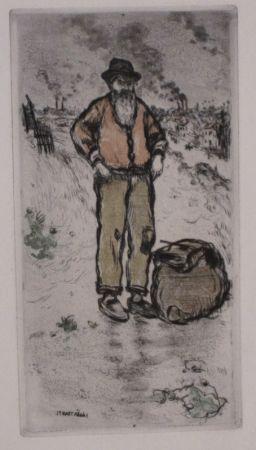 Etching And Aquatint Raffaelli - Le chiffonnier / The Ragman