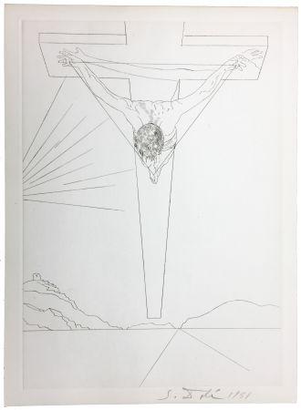 Drypoint Dali - Le Christ de Saint-Jean de la Croix (Pointe-sèche pour le Manifeste Mystique). 1951.