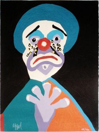 Woodcut Appel - Le Clown aux Larmes d' Or