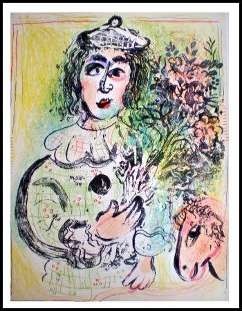 Lithograph Chagall - LE CLOWN FLEURI
