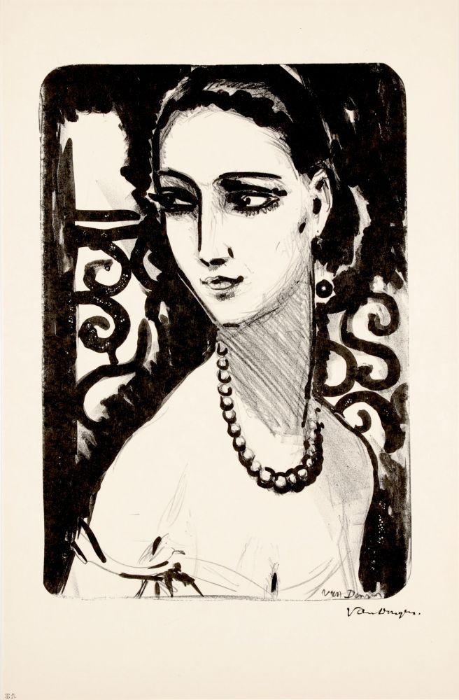Lithograph Van Dongen - Le Collier de Perles