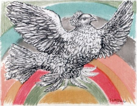 Lithograph Picasso - Le Colomb Volant  - The Flying Dove With A Rainbow