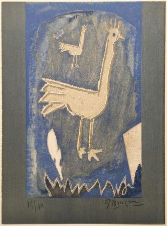 Lithograph Braque - Le Coq (frontispice pour Verve n° 27/28 1953)