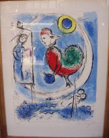 Lithograph Chagall - Le coq sur Paris