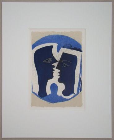 Lithograph Braque - Le Couple - Lettera Amorosa