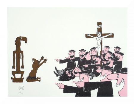 Lithograph Siné - Le curé et l'animiste