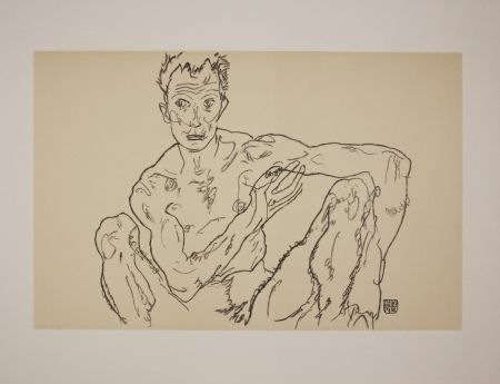 Lithograph Schiele - LE DERNIER AUTOPORTRAIT / THE LAST SELF-PORTRAIT - 1918