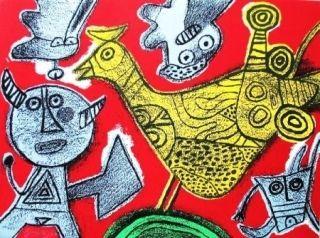 Lithograph Corneille - Le diable et l'oiseau