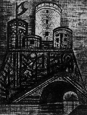 Engraving Gromaire - Le donjon de Dunsinane