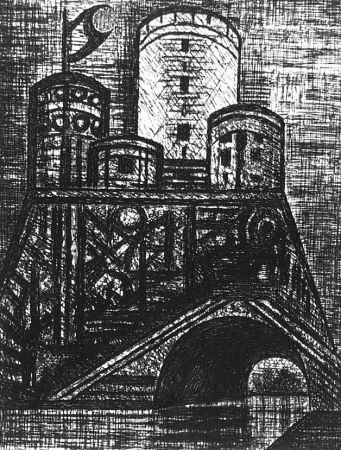 Engraving Gromaire - Le Donjon du Dunsinane