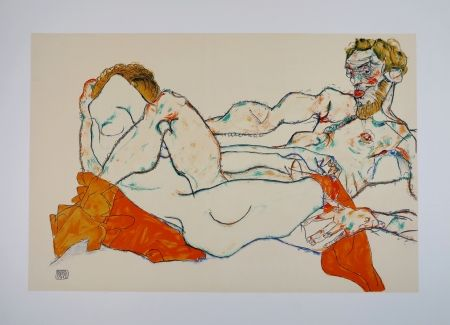Lithograph Schiele - LE DRAP ROUGE / THE RED SHEET - 1913