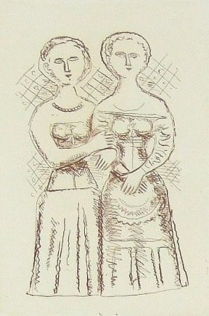 Etching Campigli - Le due donne