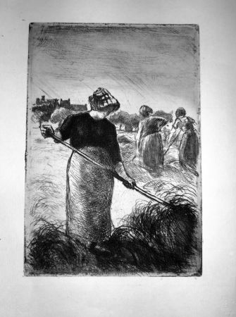 Engraving Pissarro - Le Faneuses