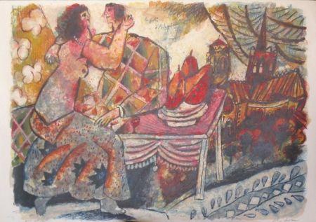 Lithograph Tobiasse - Le festin d'arlequin