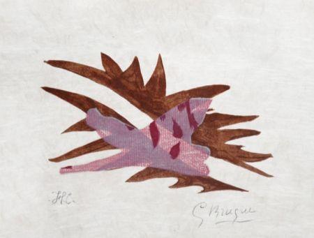 Lithograph Braque - Le Feuille Morte From Lettera Amorosa, 1963
