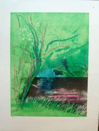 Lithograph Guiramand - Le Fleuve sous les Feuillages