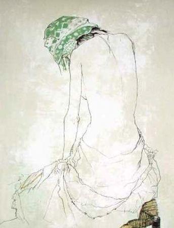 Lithograph Jansem - Le Foulard Vert