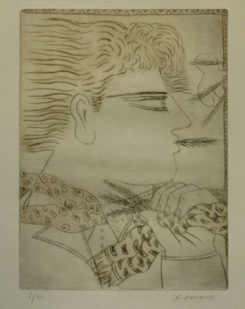 Etching And Aquatint Fassianos - LE FUMEUR
