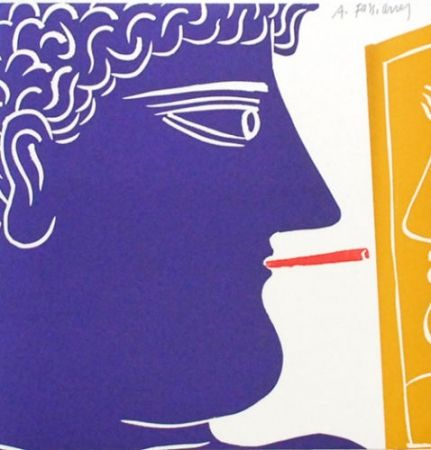 Lithograph Fassianos - Le fumeur