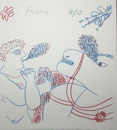 Lithograph Fassianos - Le fumeur de cigarettes et le cheval