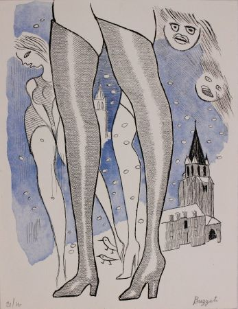 Etching And Aquatint Buzzati - Le gambe di Saint Germain