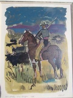 Lithograph Brayer - Le gardian de taureaux