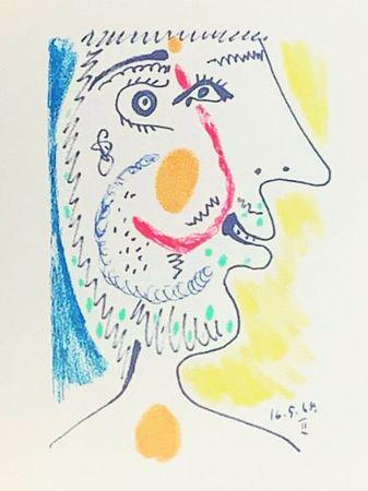 Lithograph Picasso (After) - Le Goût du Bonheur - Portrait d'un homme barbu (1964)