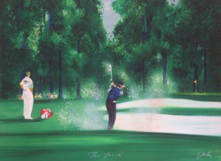 Lithograph Spahn - Le golfeur