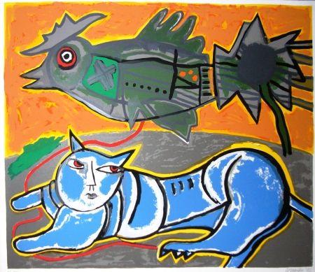 Screenprint Corneille - Le grand chat bleu et l'oiseau
