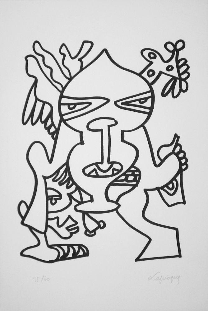 Lithograph Lapicque - Le Grand chef