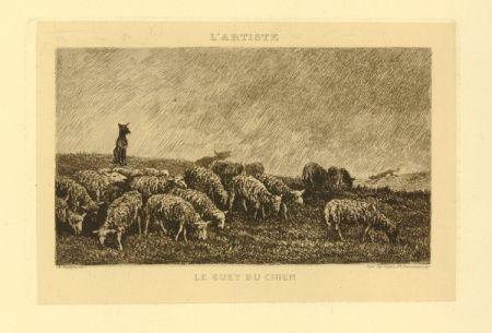 Etching Daubigny - Le guet du chien