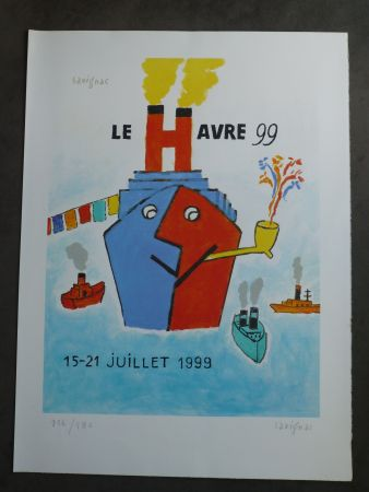 Lithograph Savignac - Le Havre 1999