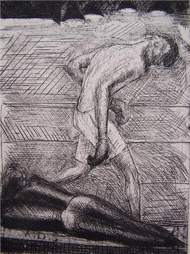 Engraving De Segonzac - Le KO du noir