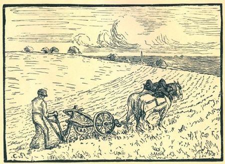 Etching Pissarro - Le laboureur