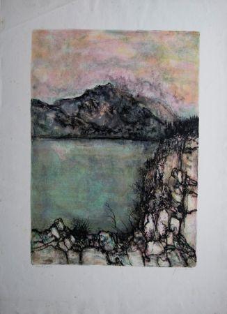 Lithograph Gantner - Le lac sauvage