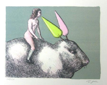 Lithograph Topor - Le lapin